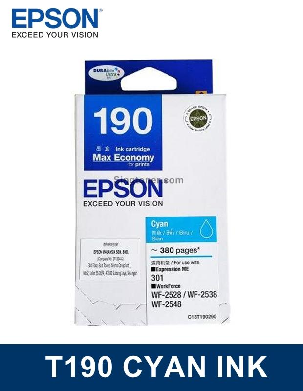 [Original] Epson 190 Cyan Ink for ME-310 WF-2528 WF-2538 WF-2548 WF2528 WF2538 WF2548 ME310 Printer T190 C13T1902 T1902 1902 C13T190290