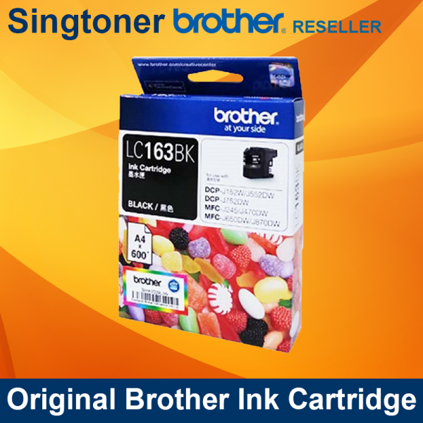 [Original] Brother LC163 High Yield Black Cyan Magenta Yellow LC163CL Color Ink Cartridge for Brother DCP-J752DW / DCP-J152DW / DCP-J552DW / MFC-J245 / MFC-J470DW / MFC-J650DW / MFC-J870DW printers LC-163 LC163BK LC163C LC163M LC163Y LC 163 BK C M Y